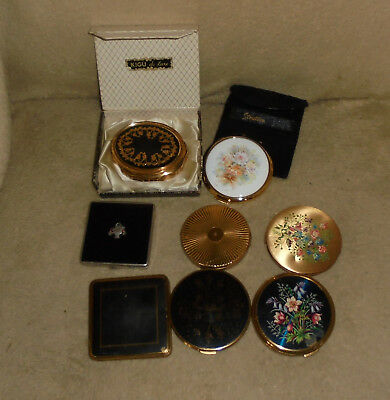 Collection Lot Vintage / Old Powder Compacts - Stratton Boxed Musical Kigu Etc