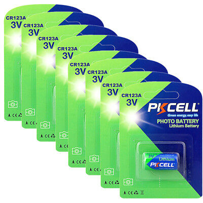 8 X 3V CR123A Lithium Batteries 123 DL123 For Camera PKCELL EXP2028