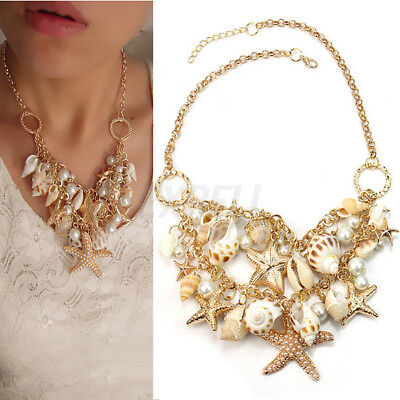 Hot Chunky Gold Tone Beach Sea Shell Starfish Faux Pearl Bib Statement Necklace