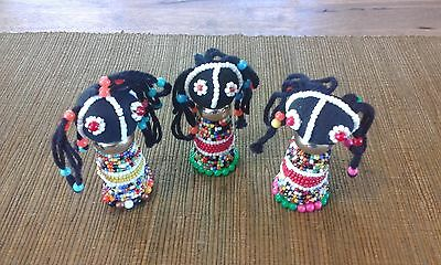 Set of 3 Handcrafted African Beaded Traditional Dolls