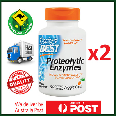 2x Proteolytic Enzymes 180 Veg Caps by Doctor's Best - Bromelain, Serrazimes Now