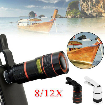 Optical Zoom Len Telescope Telephoto Clip on For Mobile Cell Phone Camera 8X/12X