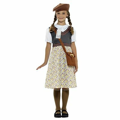 1940s Historical Childs Wartime School Girl Fancy Dress Book Day Costume Bag Hat
