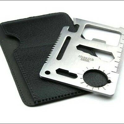Wallet, Multi-Tool, Stainless Steel with 11 uses, with pouch