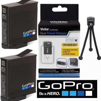 2 Aabat-001 Original Gopro Hero 6 Batterie + Fast Charger Tripod For Gopro Hero6