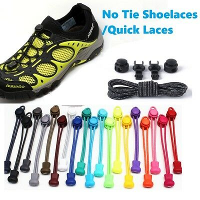 No Tie Elastic Lace System Easy Lock Shoe Laces Shoelaces Runners Adults Kids UK