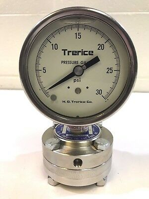 Trerice T515-04 Oil Filled Pressure Gauge, Teflon Diaphragm