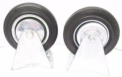"6"" (150mm) Rubber Fixed Castor Wheels Trolley Furniture Caster (2 Pack) RM014"