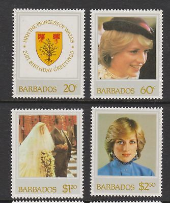 1982 Princess Diana 21st Birthday MNH Stamps Stamp Set Barbados SG 705-708