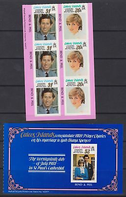 1981 Royal Wedding Charles & Diana Caicos Islands MNH Stamp Booklet Panes S/A