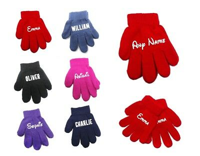 Personalised Magic Kids Winter Funky Cool Teenager Gloves With Your Name on