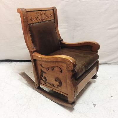 Timeless Antique Solid Oak and Leather Rocking Chair $695