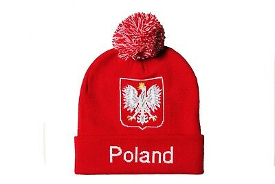 b9c2b591678 POLAND Red With TITLE   Country Flag EAGLE Logo TOQUE HAT With POM POM.