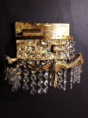 Antique Brass Double Light Wall Fixture Sconce with Crystals $40