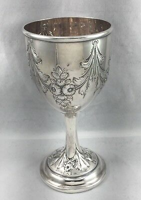 """Great George Sharp Coin Silver Philadelphia Repousse Large Goblet - 6 7/8"""""""