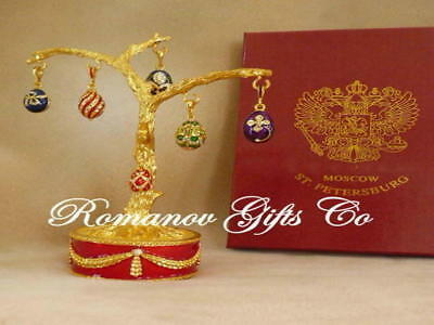 Russian Imperial Faberge Musical Easter Egg Tree &6 Egg Pendants plays Fur Elise