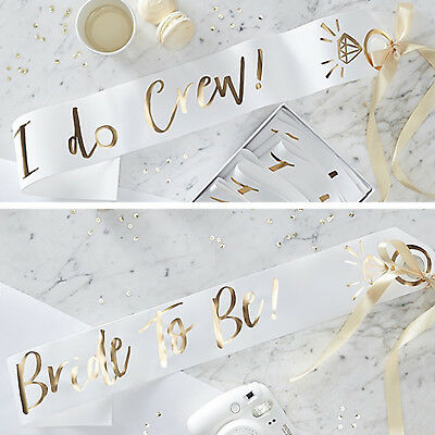 I DO CREW HEN PARTY SASHES - Gold and White Bride to Be Elegant Hen Night