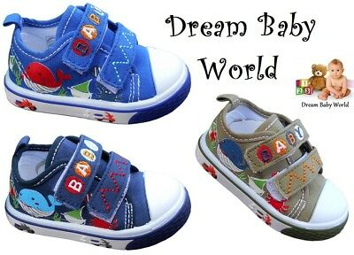 Boys BABY Toddler canvas shoes trainers size 3 - 7 UK NEW BOY FIRST SHOES