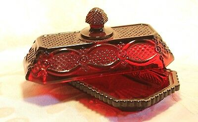 1876 Cape Cod Avon RUBY RED Quarter Pound Covered Butter Dish Elegant Tableware