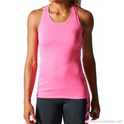 Adidas Tech-Fit Ladies Running Vest Tank Top - Pink - SMALL