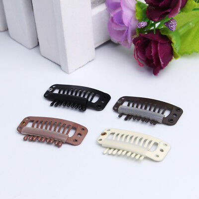 10Pcs Stainless Steel Wig Clips 7-Teeth Snap-Comb Hair Extension Clips UK SELLER