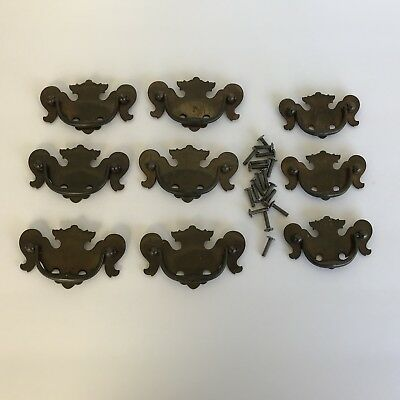 Set of 9 Chippendale Brass Drawer Pulls Hardware Dresser Chest 6 Large 3 Small