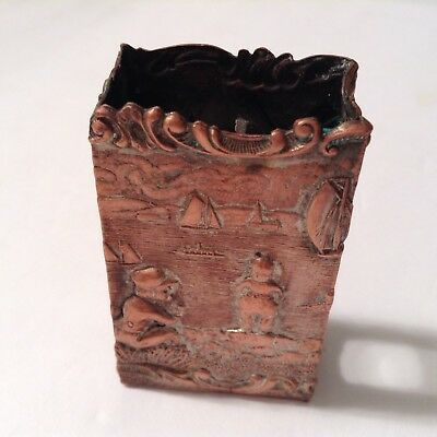 antique ornate old vtg match box holder match safe,Dutch windmill, brass