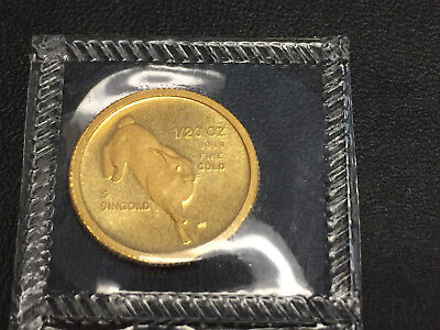 1987 1/20 5 Singold year of the Rabbit Singapore .9999 Gold Coin Mint sealed