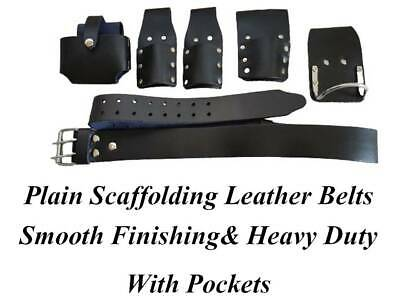 Scaffolding Black Leather Tool Belt Steel Hammer 2 Spanners 1 Tape Level Holder
