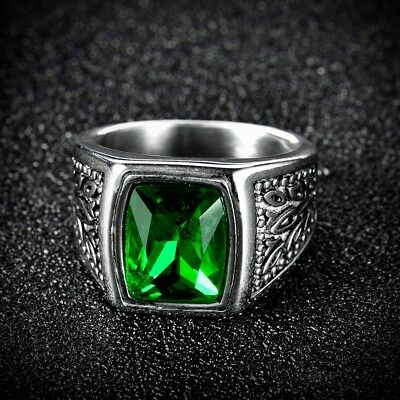 Promise Mens Silver Tone Stainless Steel Green Emerald Crystal New Vintage Rings