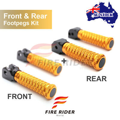 For Yamaha FZR 600 / R  89-96 Front + Rear Pair Gold CNC Pole Footpegs