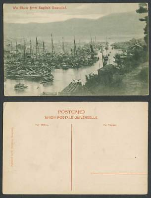 China Hong Kong Old Postcard Wo Chaw from English Consulate Sampan Boat Harbour