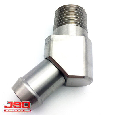 """New 1041 Stainless Steel 45 Degree Heater Hose Fitting 1/2"""" NPT to 5/8"""" Barb"""