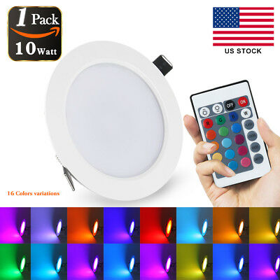 Dimmable10W RGB color changing LED Recessed Panel Ceiling Down light +IR Remote