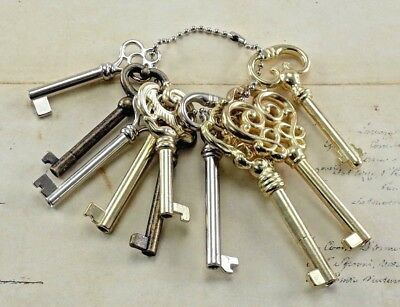 Vintage Style Assorted Open Barrel Keys With Keychain Reproduction(Lot of 10)