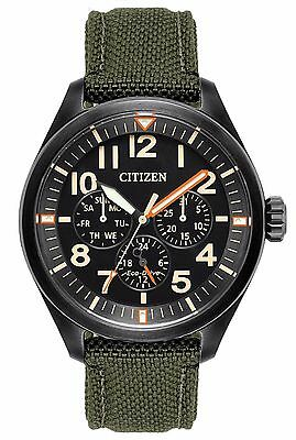 Mens Citizen Eco-Drive Green Military Canvas Band Day Date Watch BU2055-16E
