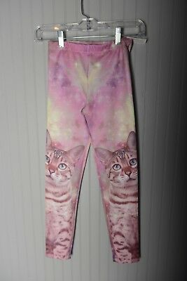 Large Face Cat Girls Leggings stretchy pants Pink Youth Size XS