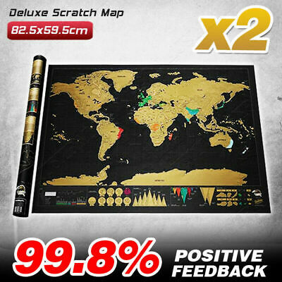 X2 Travel Scratch Off Map of the World Deluxe  Wall Poster Gift for Travelers
