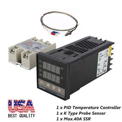 100-240V Digital PID Temperature Controller + 40A SSR + K Thermocouple Sensor US