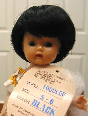 TODDLER DOLL WIG Black size 5-6 for Ginny Muffie and all other types of DOLLS