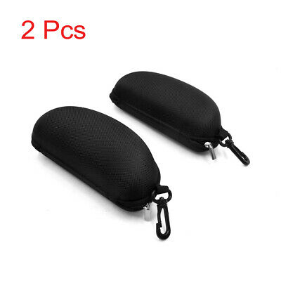 2Pcs Portable Black Zipper Eye Glasses Sunglasses Hard Case Protector for Car