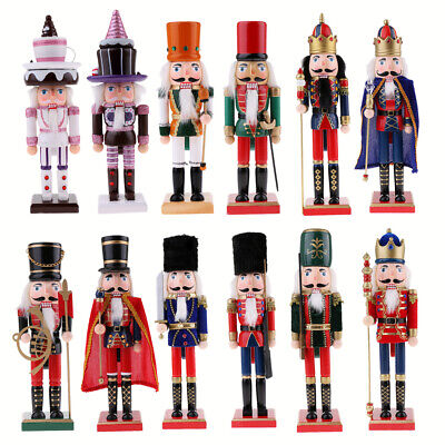 38/25cm Christmas Wooden Nutcracker Soldier King Figure Statue Puppet Gift Decor