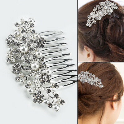 New Bridal Prom Rose Gold Crystal Diamanté Pearl Hair Comb Clip Slide Fascinator