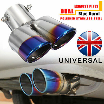 UK 63mm Universal Car Grilled Blue Twin Dual Double Exhaust Muffler Pipe Tail