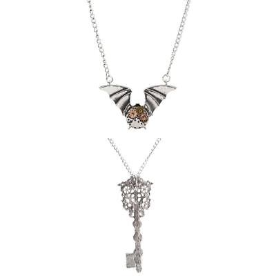 2Pcs Lady Steampunk Gear Bat Pendant Key Design Necklace Vintage Jewelry