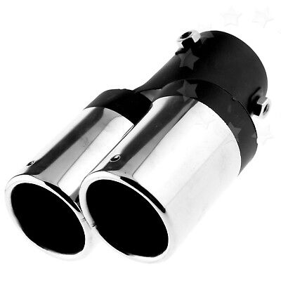 Solid Twin Dual Muffler Exhaust Trim Tips Chrome Tail Pipe up to 60mm Universal