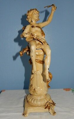 Painted Spelter Figure / Statue Cupid / Putti Seated on a Column