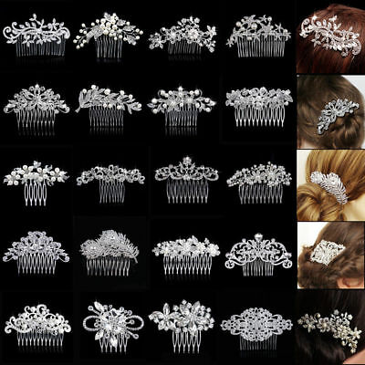 Wedding Bridal Silver Floral Hair Combs Diamante Crystal Pearl Slide Clips Tiara