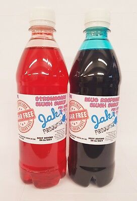 2x 500ml BOTTLES SUGAR FREE SLUSH PUPPY CONE SYRUPS BLUE RASPBERRY N STRAWBERRY