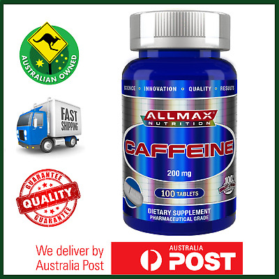 NEW ALLMAX Nutrition Caffeine 200mg 100 Tablets Vegan - AU FRESH STOCK FAST SHIP